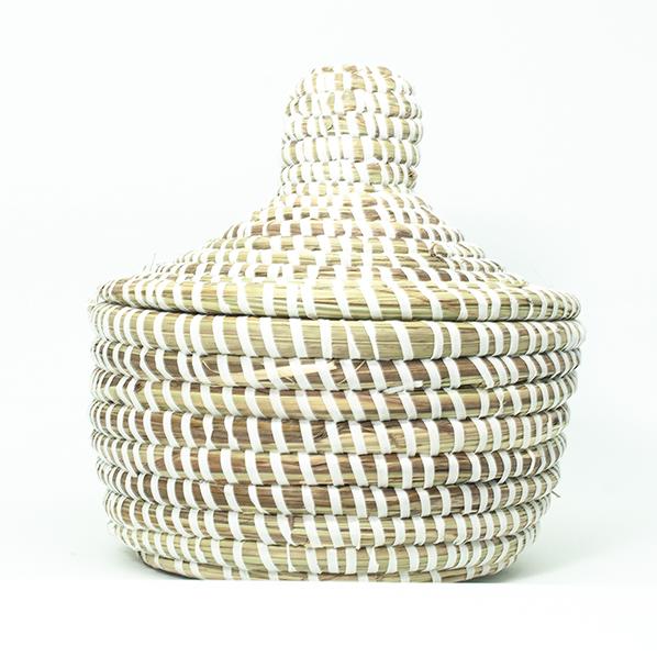 Afrikaanse witte rieten bijoux mand met deksel