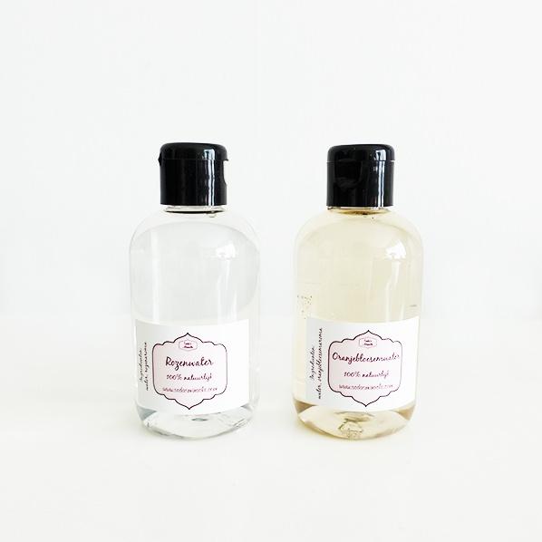 Natuurlijke oranjebloesemwater en rozenwater, facial toners