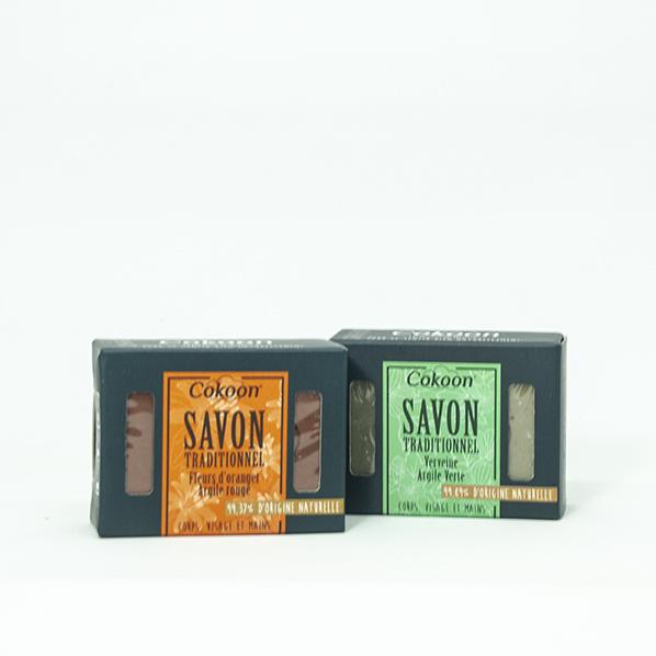 Oranjebloesem rode klei zeep en verbena groene klei zeep met arganolie, 2-pack
