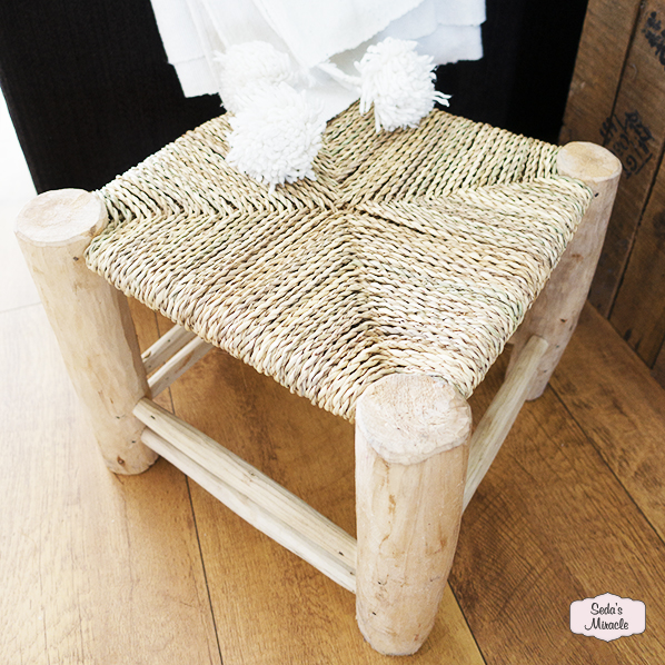 Bohemian houten krukje, handgemaakt