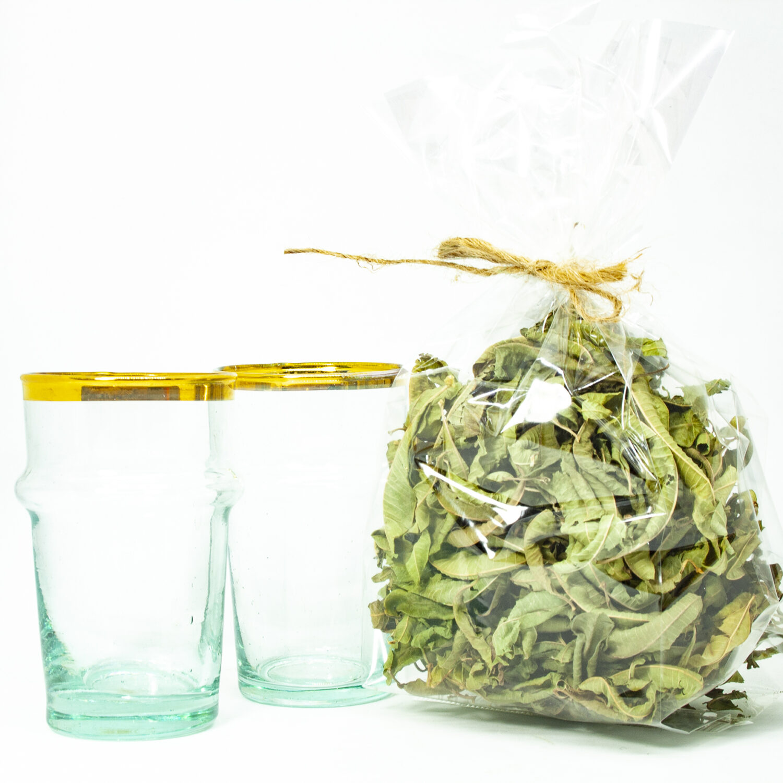 Tea special cadeaupakket met Beldi glazen met goud en verbena thee