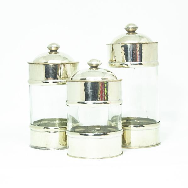 Ayse set van 3 glazen potjes voor in de badkamer of keuken