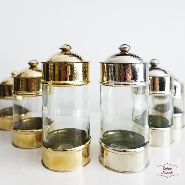 Ayse set van 3 glazen potjes goudkleurig en zilverkleurig