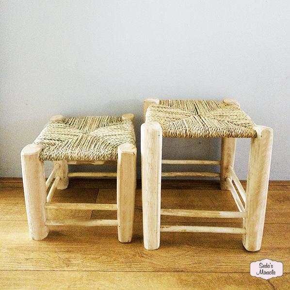 Handgemaakte bohemian Marokkaanse krukjes van hout en zeegras