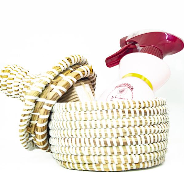 Cadeaupakket met Afrikaans bijou mandje, Ritaaj roomspray en natuurlijke saffraan zeep met arganolie