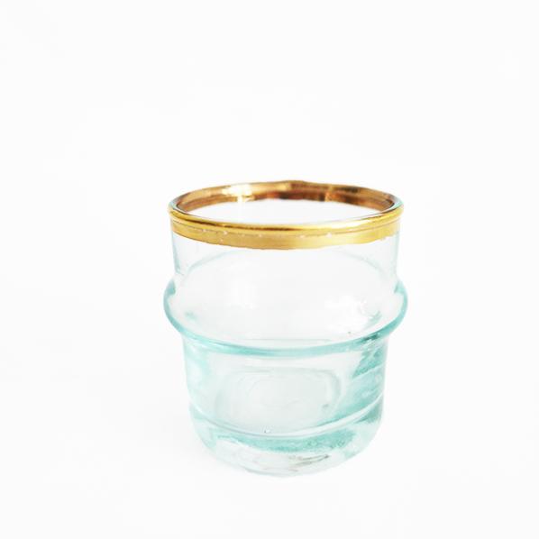 Handgemaakt Marokkaans beldi glas goud, petit