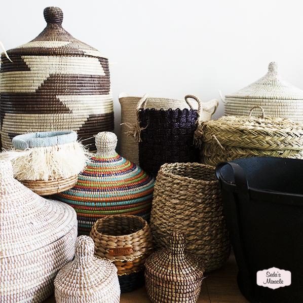 Afrikaanse manden, Marokkaanse manden, manden met deksel, zeegras manden, kleine manden, grote manden