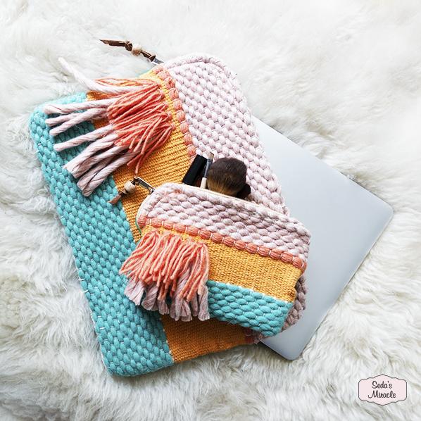Handgemaakte laptophoes en toilettas/makeuptas uit India, Fair Trade, Return to Sender