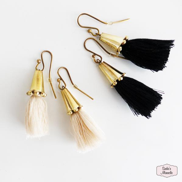 Handgemaakte Marokkaanse Tassel oorbellen, zwart en beige