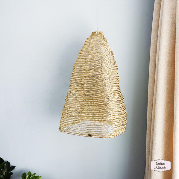 Handgeweven Golden lamp, Fair Trade