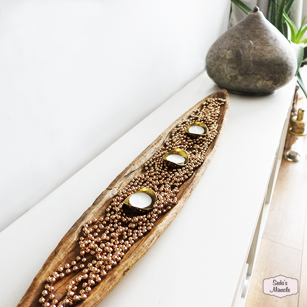 Handgemaakte ovale houten schaal