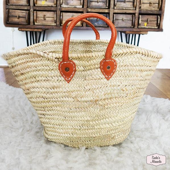 Handgemaakte Marokkaanse tas van palmblad, medium