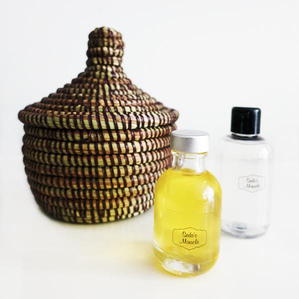 Insiya cadeaupakket met Afrikaans bijoux mandje, pure natuurlijke arganolie en natuurlijke rozenwater, facial toner