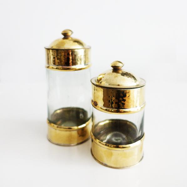 Ayse set van 2 glazen potjes voor in de badkamer of keuken