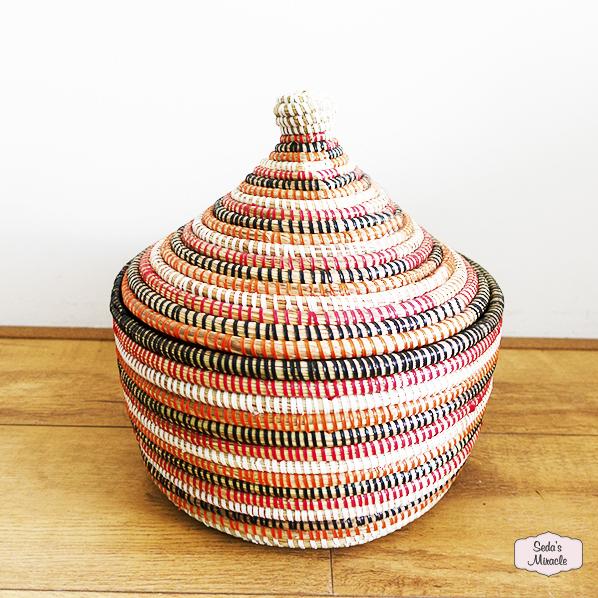 Handgemaakte Afrikaanse tajine mand, oranje bruin, Fair Trade