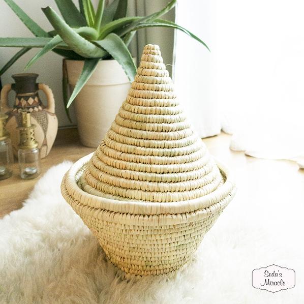 Handgemaakte Marokkaanse Zana mand van palmblad, large