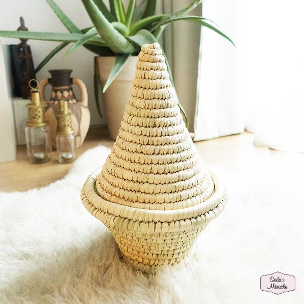 Handgemaakte Marokkaanse Zana mand van palmblad, medium