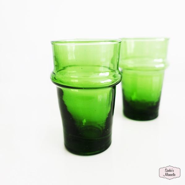 Handgemaakt Marokkaans beldi glas, groen