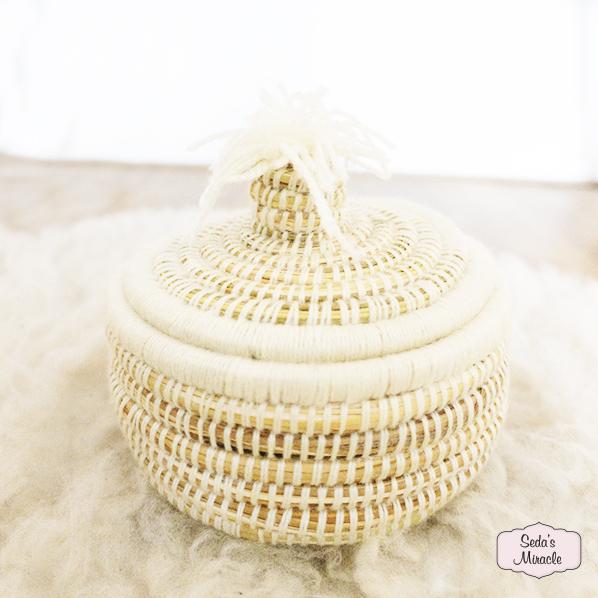 Handgemaakt Marokkaans bijoux mandje wit, small