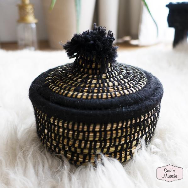 Handgemaakt Marokkaans bijoux mandje zwart, small