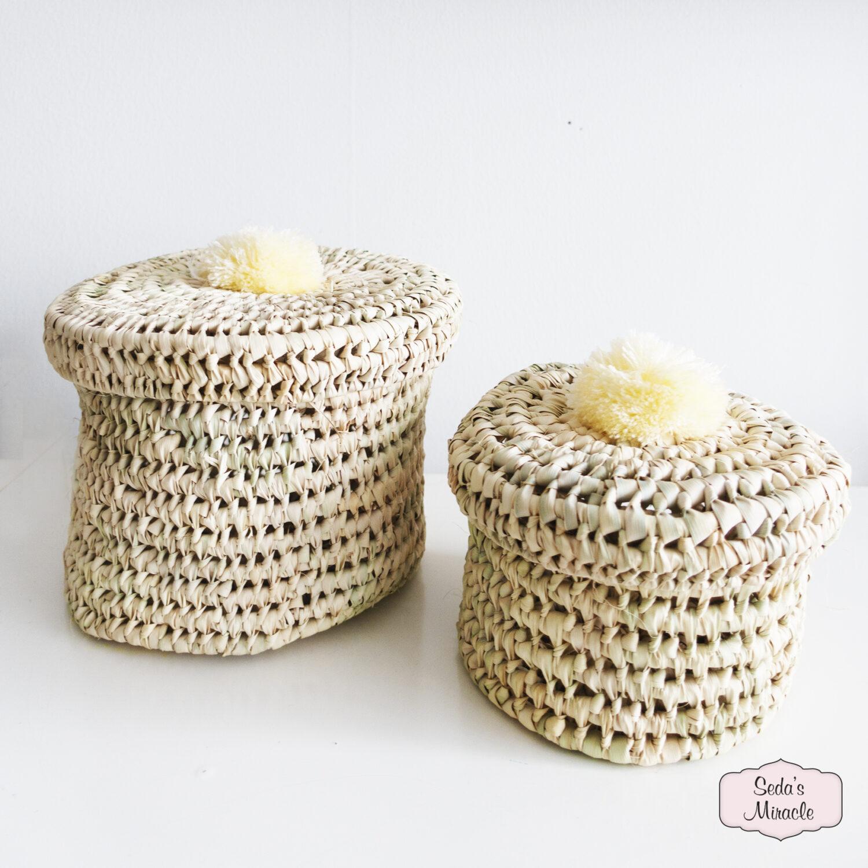 Handgemaakte Marokkaanse Palmpom mand, small en medium