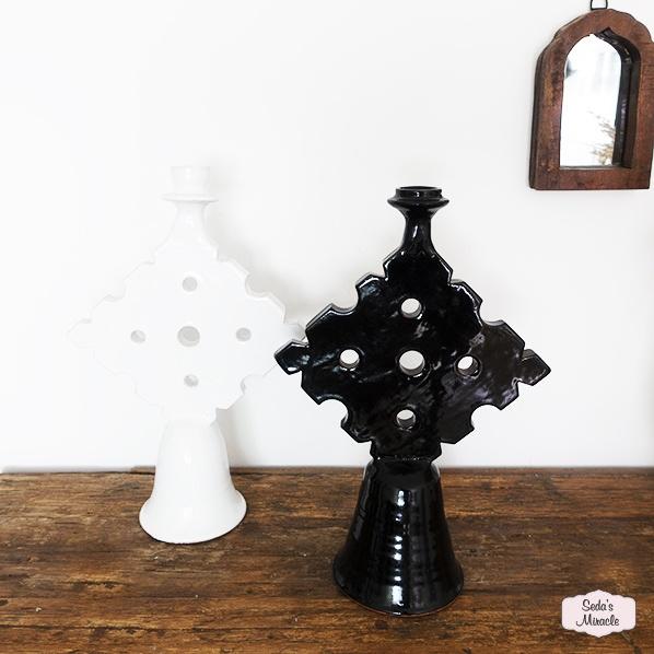 Handgemaakte Marokkaanse Tamegroute kandelaren, zwart en wit