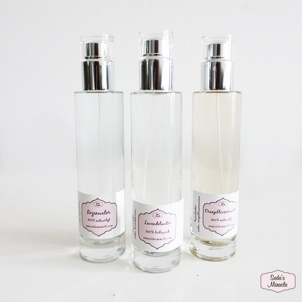 Natuurlijke rozenwater, oranjebloesemwater en lavendelwater, spray