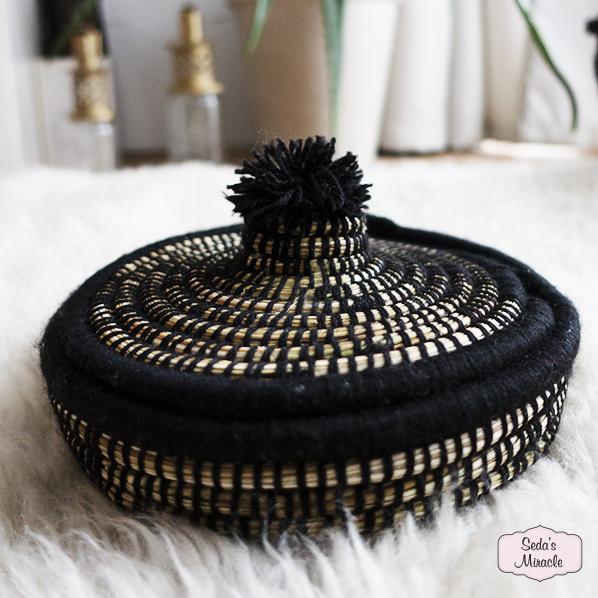 Handgemaakt Marokkaans Jewellery mandje zwart, small