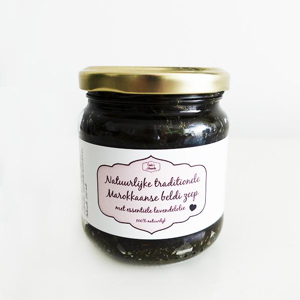 Natuurlijke traditionele Marokkaanse Beldi zeep met essentiele lavendelolie