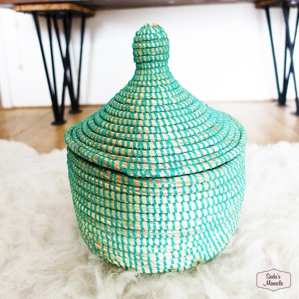 Handgemaakte Afrikaans bijoux mand groen, medium