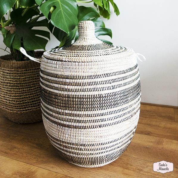 Handgemaakte Afrikaanse Piyra wasmand, medium