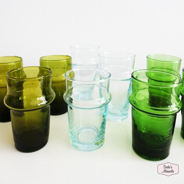 Handgemaakte Marokkaanse beldi glazen