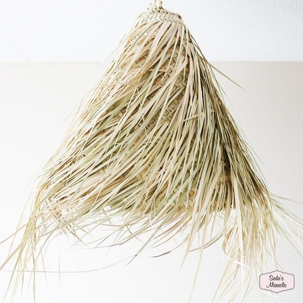 Handgemaakte Marokkaanse Isy hanglamp van palmblad