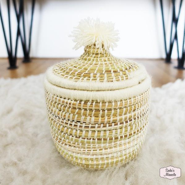 Handgemaakt Marokkaans bijoux mandje wit, medium