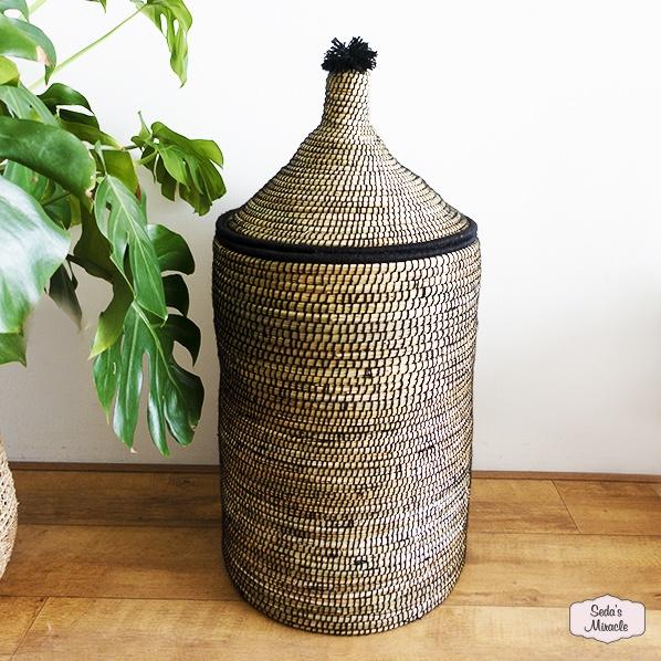 Handgemaakte Marokkaanse Berber Pom wasmand zwart, large