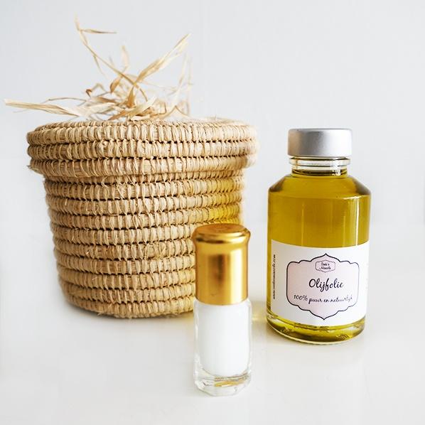 Oummie cadeaupakket met handgemaakt Marokkaans Raffia mandje met pure natuurlijke olijfolie en geconcentreerde musk jamid parfum