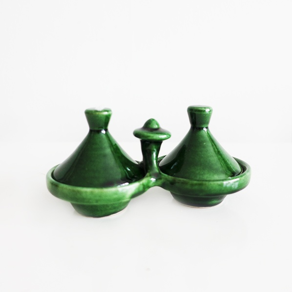 Handgemaakte Marokkaanse Tamegroute kruiden tajine set, groen