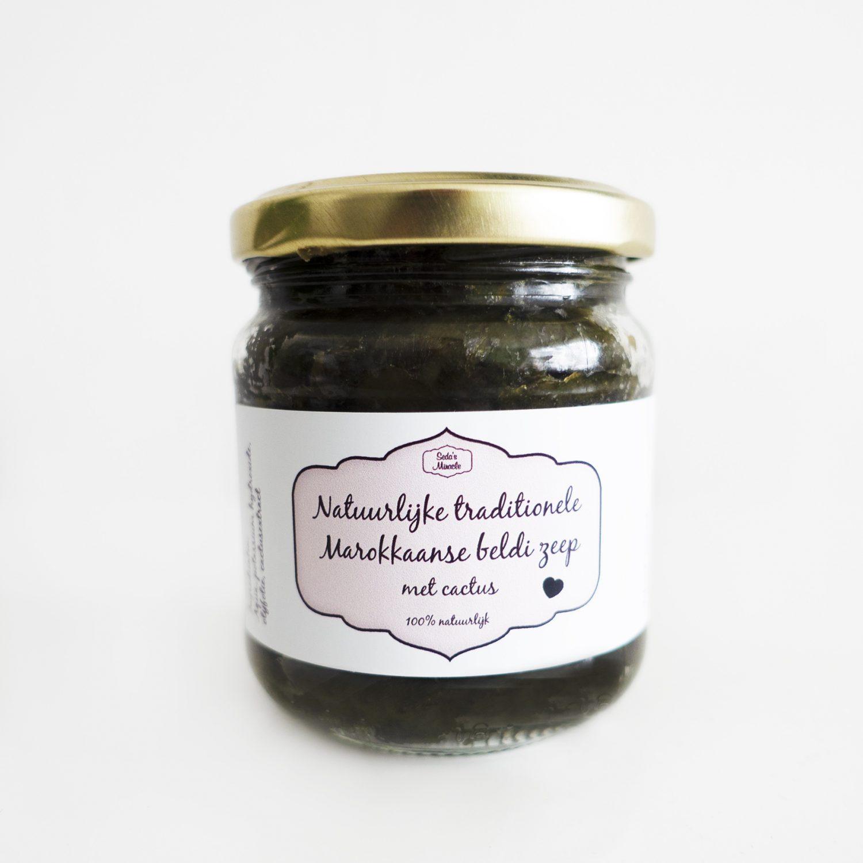 Natuurlijke Marokkaanse beldi zeep (Afrikaanse zwarte zeep) met cactus