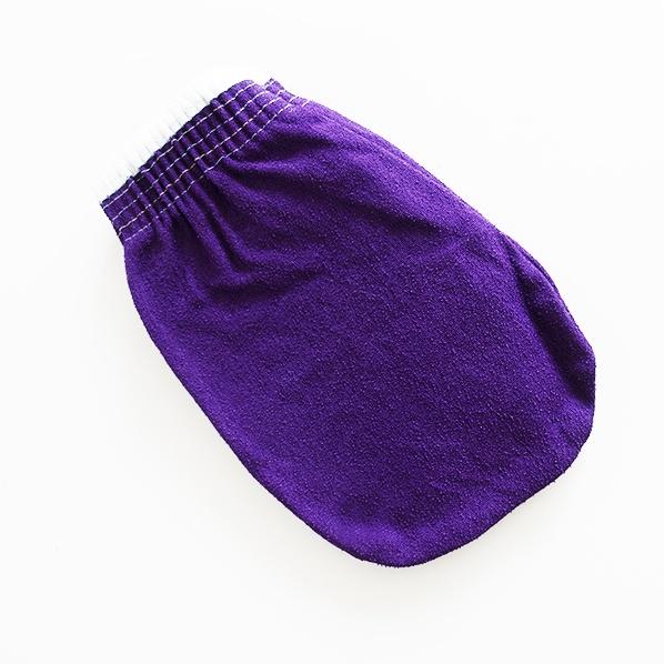 Hamam scrub handschoen of kessa glove, paars