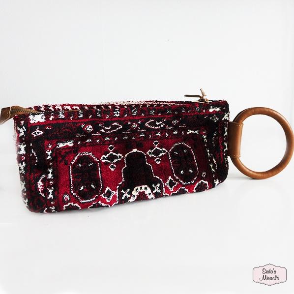 Handgemaakte Marokkaanse Berber clutch, bordeaux