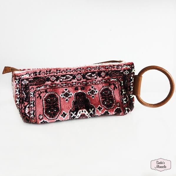 Handgemaakte Marokkaanse Berber clutch, oud roze