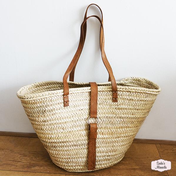 Handgemaakte Marokkaanse Palmblad tas met leer