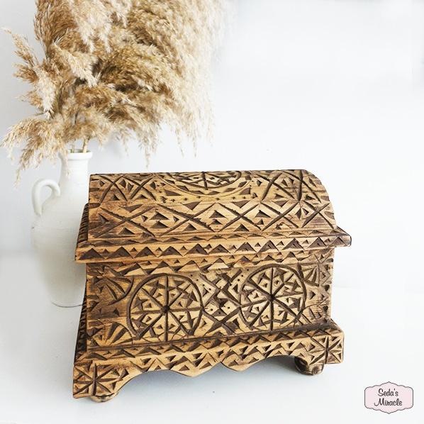 Handgemaakt Marokkaans Falyla kistje, handbewerkt