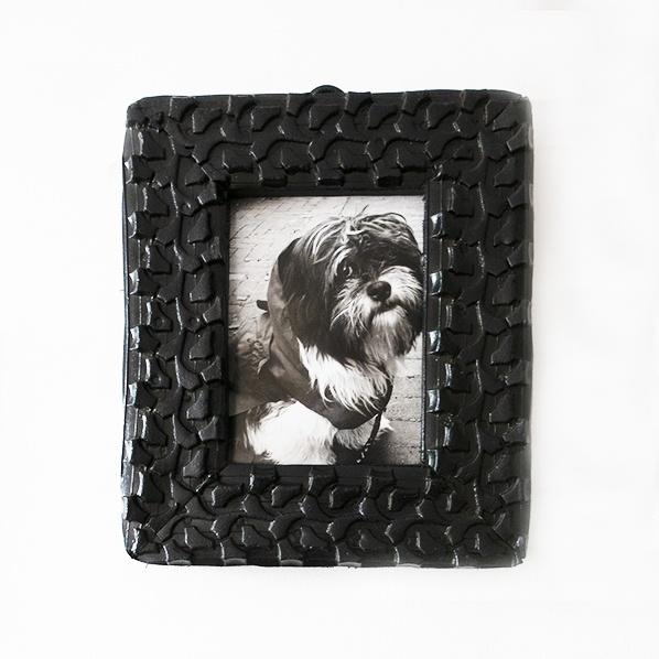 Handgemaakt Marokkaans fotolijstje van gerecycled rubber