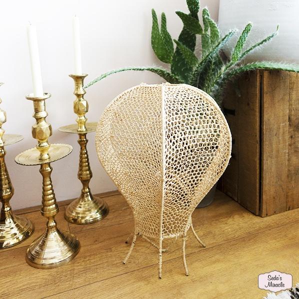 Handgemaakte Marokkaanse Hayla lamp, raffia