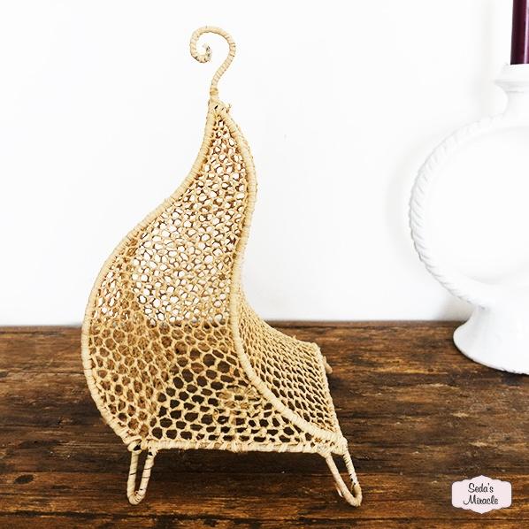 Handgemaakte Marokkaanse Hicha lamp, raffia