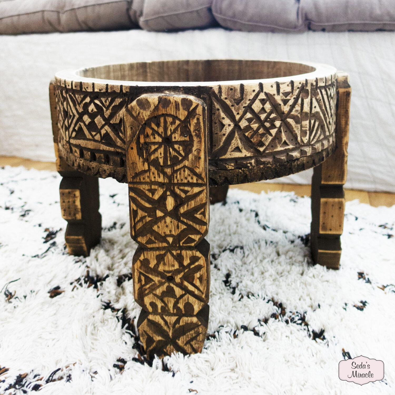 Handgemaakte Marokkaanse Khyfa tafel van hout